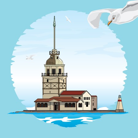The Maiden Tower of Istanbul. Vector illustration.