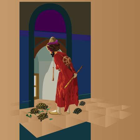 Malowanie Tortoise Trainer, Osman Hamdi Bey przez słynnego farby, z 19 wieku okresu osmańskiego. Ilustracji wektorowych.
