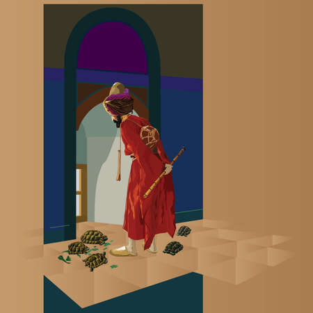 famous painting: The Tortoise Trainer painting, by Osman Hamdi Bey, a famous paint from the 19th century Ottoman period. Vector illustration.
