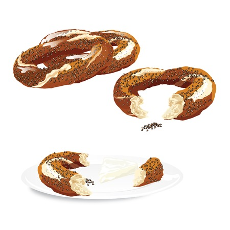 sesame: Traditional Turkish Bagel with sesame on a plate isolated. Vector illustration Illustration