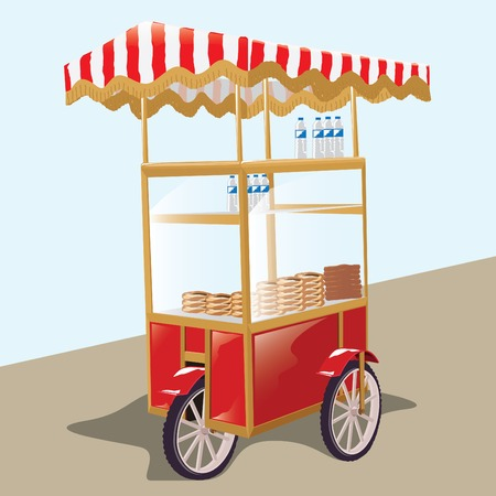 Traditional Turkish Wheel Bagel Car. Tricycles. Vector illustration
