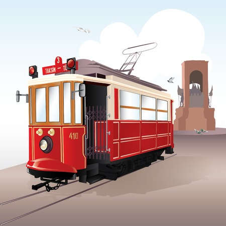 istanbul: Traditional istanbul tram with The Freedom Monument, Taksim. Vector illustration