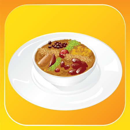 Ashura. A plate of traditional islamic dessert. Vector illustration Illustration