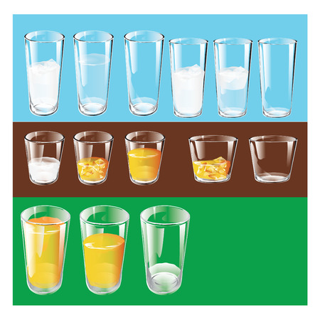 Types of drinking glasses. Set. Vector illustration.