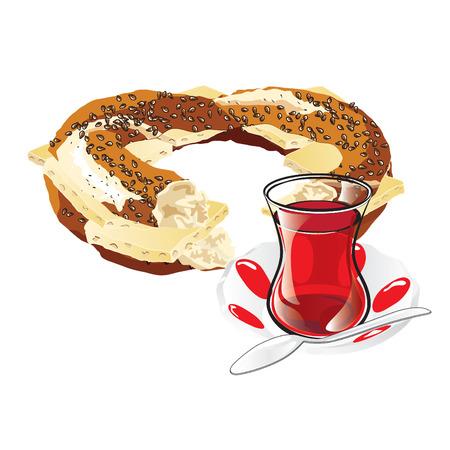 bagel: Vector Cheesed Turkse Bagel en een glas van traditionele Turkse thee. Illustratie Stock Illustratie