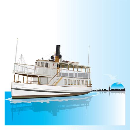 アメリカからの蒸気船サビノ。ベクトル図  イラスト・ベクター素材