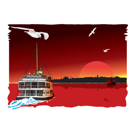 Traditional Turkish Liner passing the bosphorus. Vector illustration.