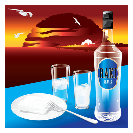 Generic bottle of national drink of Turkish Raki with glasses and a plate of white cheese on sunset background. Vector illustration