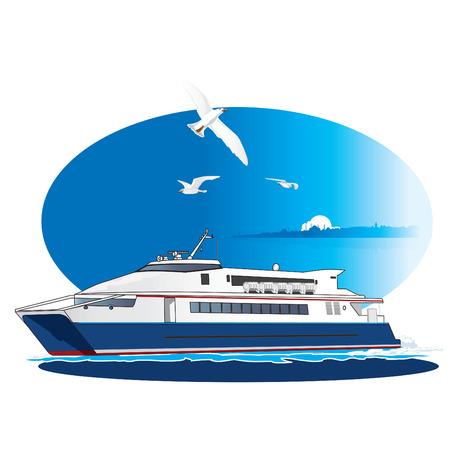 Turkse Fast Ferry oversteken van de Bosporus. Vector illustratie Vector Illustratie