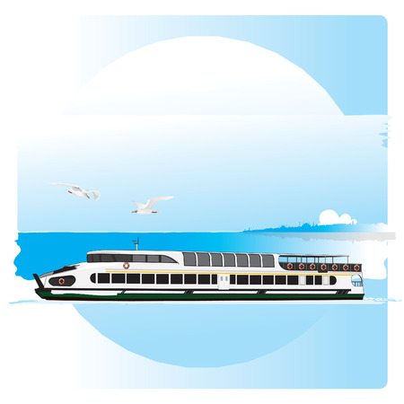 Ferry crossing the Golden Horn with istanbul silhouette. Vector illustration