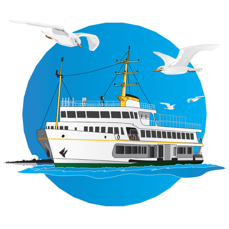 Turkish Liner passing the boshporus with istanbul silhouette. Vector illustration. Çizim