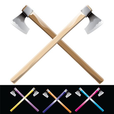 Crossed axes isolated on black and white. Vector, illustration.