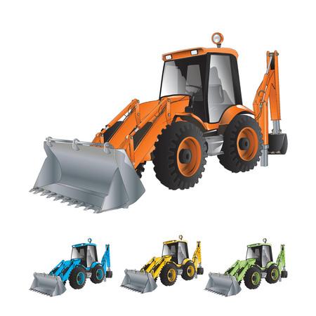 front loader: Excavadoras de construcción Cargadora de ruedas aisladas sobre fondo blanco. Vector, ilustración.