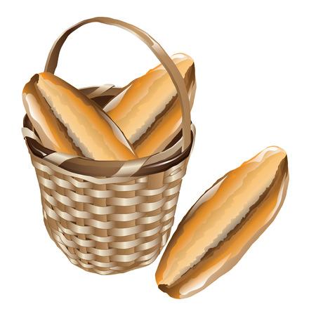 tranches de pain: Morceaux de pain traditionnel turc dans un panier en osier isolé sur fond blanc.