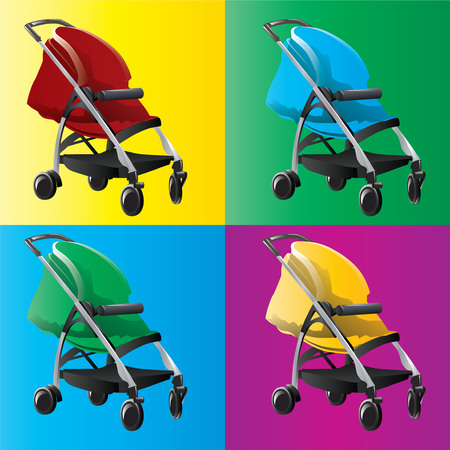 stroll: Baby strollers isolated. Vector, illustration. Illustration