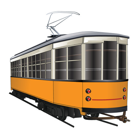 Vintage old tram isolated on white background. Vector, illustration.