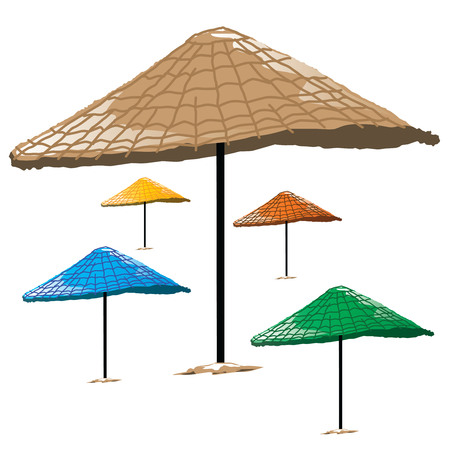 Wicker Beach Umbrellas isolated on white background. Vector, illustration.