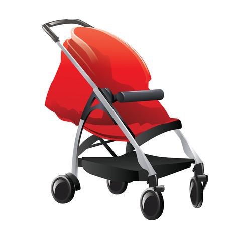 Baby stroller isolated on white background. Vector, illustration. Stock Vector - 45007444