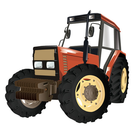Generic tractor isolated on white background.Vector, illustration.