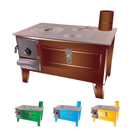 old kitchen: Traditional old Turkish kitchen stove isolated on white background. Vector, illustration.