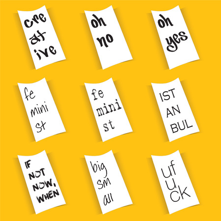 Funny paper notes with words isolated on yellow background. Illustration