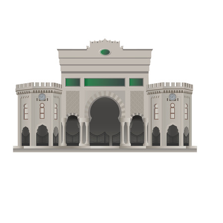 Istanbul University Gate in Beyazit Square isolated on white.Vector, illustration. Illustration