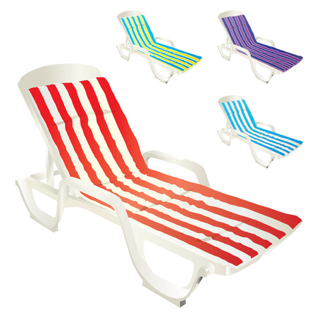 Plastic white sunbeds with colorful cushions isolated on white background.