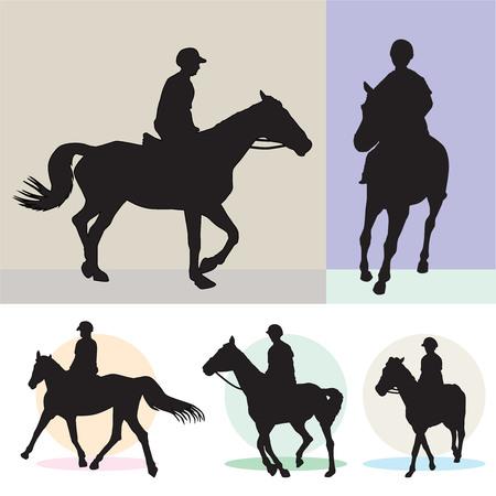 cavallo in corsa: Cavalli da corsa e fantini sagome isolati. Vettore, illustrazione.