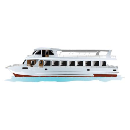 イスタンブール、トルコの伝統的なトルコ客船白で隔離。ベクターの図。  イラスト・ベクター素材