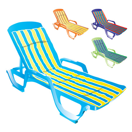 Colorful plastic sunbeds with cushions isolated on white background. Stock Vector - 45222020