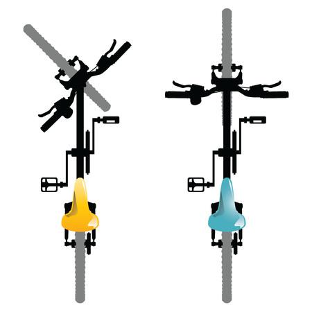 自転車。白い背景に分離された一般的な自転車の上から見るの図。