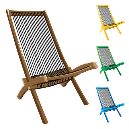 Deck chairs with rope seat isolated on white background. Vector, illustration.