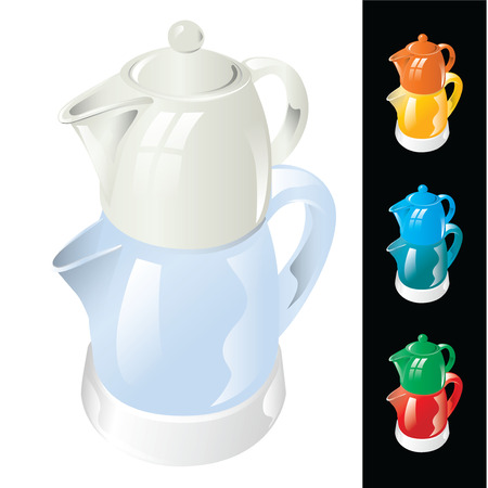 Electric kettle with porcelain teapot isolated on white background. Vector, illustration.