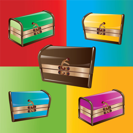 Closed colorful chests isolated. Vector, illustration.