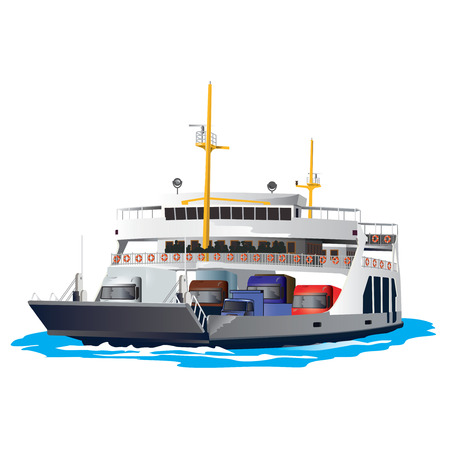 Ferry Boat isolated on white background. It is taking cars and trucks crossing the harbor. Vector, illustration. Illustration