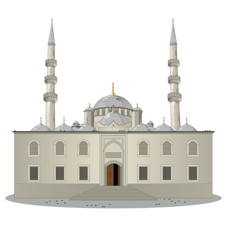 The New Mosque pronounced Yeni jami main entrance view in Eminonu, Istanbul, Turkey. Vector, illustration. Illustration