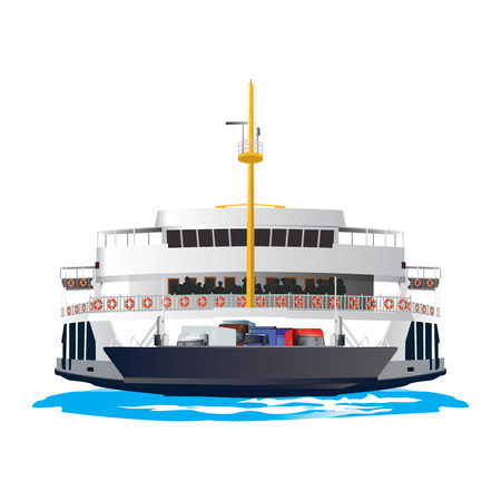 waterway: Ferry Boat isolated on white background. It is taking cars and trucks crossing the harbor. Vector, illustration. Illustration