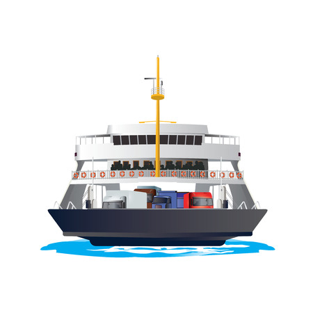 Ferry Boat isolated on white background. It is taking cars and trucks crossing the harbor. Vector, illustration. Stock Vector - 45222049
