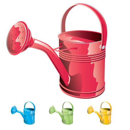 Red watering can isolated on white background. Stock Vector - 45514565