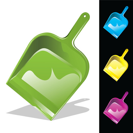 Colorful dustpans isolated on white and black. Vector, illustration.