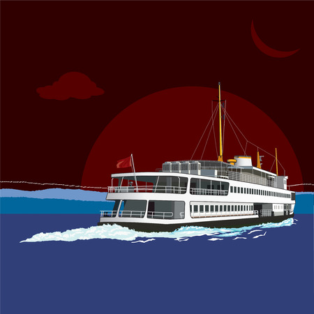 Passenger ferry isolated. Vector, illustration. Stock Vector - 45514569