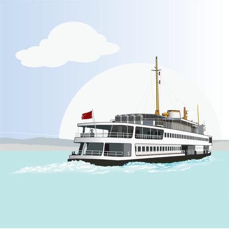 Passagiersveerboot geïsoleerd. Vector, illustratie.