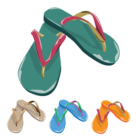 Colorful flip flops isolated on white background.