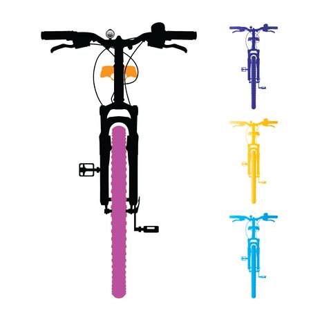 bicyclette: VTT isolé. Vue de devant. Vecteur, illustration.