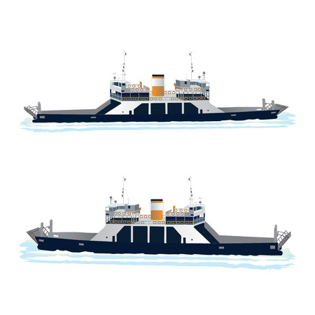 Ferry Boat Taking Cars and Trucks Crossing the Harbor. Isolated on white. Vector, illustration.