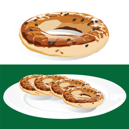 Traditional Turkish pastry rings called Kandil Simidi on a plate isolated, consumed during the Kandil religious holiday Illustration
