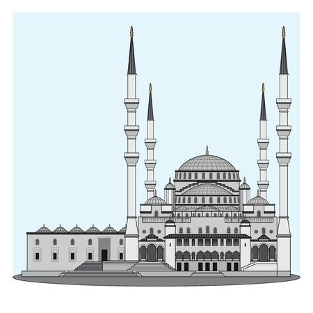 mosque with blue sky background.