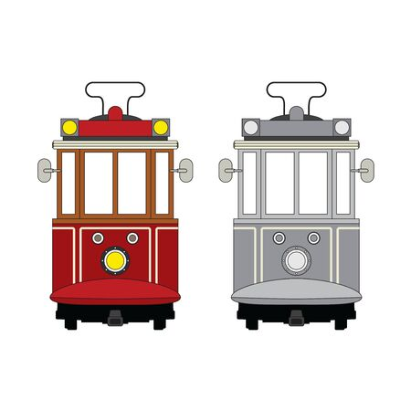Traditional istanbul tram with the background of freedom monument. Vector illustration.