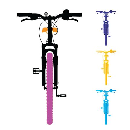 Mountain bike isolated. Front view. Vector, illustration. Illustration