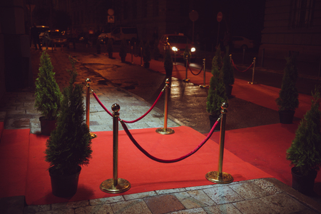 red carpet - is traditionally used to mark the route taken by heads of state on ceremonial and formal occasions Stock fotó